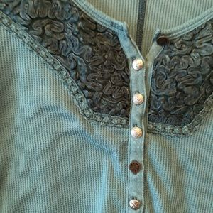 Free People Tops - Free People dark teal waffle top size m